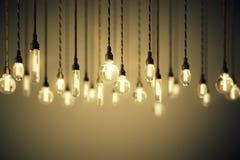 Bulbos com os filamentos longos no fundo marrom Fotos de Stock Royalty Free