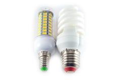 Bulbos conduzida, do néon e do tungstênio com verificação-caixas Imagens de Stock