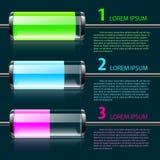 Bulbos de cristal coloreados vector infographic Imagen de archivo libre de regalías