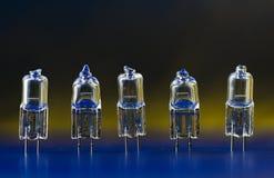 Bulbos de halógeno eléctricos que se colocan en una fila 1 Imágenes de archivo libres de regalías