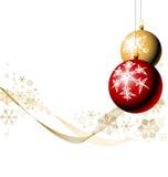 Bulbos de la Navidad con los copos de nieve Fotografía de archivo libre de regalías