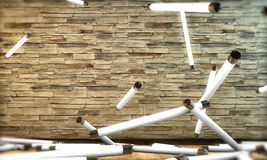Bulbos de néon que caem para baixo Imagens de Stock