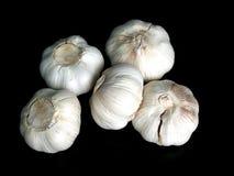 Bulbos del ajo en negro Imagenes de archivo