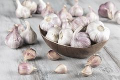 Bulbos do alho do close-up e cravos-da-índia de alho no fundo de madeira garlic Alho fresco Fotografia de Stock Royalty Free
