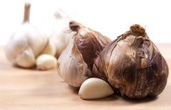 Bulbos do alho fumado e branco Imagens de Stock