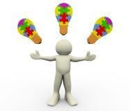 bulbos do enigma do homem 3d Foto de Stock Royalty Free
