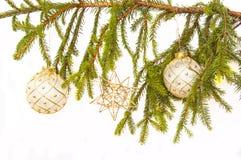 Bulbos do White Christmas Imagens de Stock Royalty Free