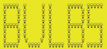 Bulbos escritos en fondo amarillo foto de archivo libre de regalías