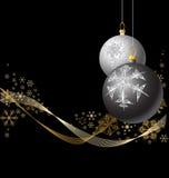 Bulbos negros y de plata de la Navidad Fotos de archivo