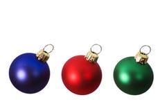 Bulbos vermelhos, azuis e verdes do Natal Imagens de Stock Royalty Free
