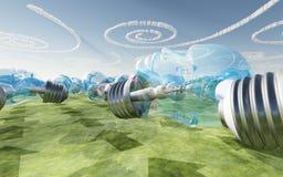 Bulbos y nubes hechos frente humanos Fotografía de archivo libre de regalías