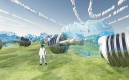 Bulbos y nubes hechos frente humanos Imagenes de archivo