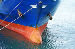 Bulbous bow of bulk cargo ship Stock Photos