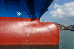 Bulbous bow section. Of vessel in sea water and some part of blue sky stock images