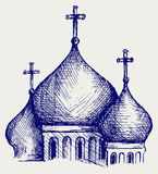 The bulbous domes of orthodox cathedral temple Royalty Free Stock Image