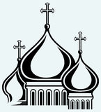 The bulbous domes of orthodox cathedral temple Stock Photos