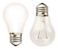 Bulbs. Two bulbs, one ON one OFF Stock Image