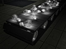 Bulbs on Conveyor-belt Royalty Free Stock Photography