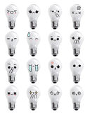 Bulbs emoticon - face action cartoon cute to draw the line Stock Image