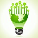 Bulbs on half earth bulb Royalty Free Stock Image