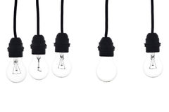 Bulbs hanging on white background Stock Photography