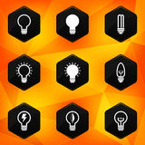 Bulbs. Hexagonal icons set on abstract orange back Stock Photos