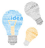 Bulbs ideas. Made by typography Royalty Free Stock Photos