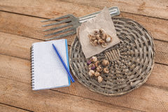Bulbs of  Ixia  on a wooden table. Stock Photography