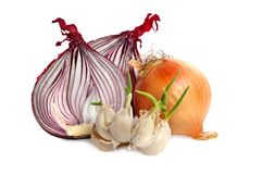 Bulbs Of Garlic And Red Onion Stock Image
