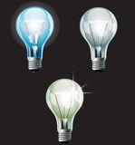 Bulbs set. Set of ial bulbs, executed in three variants. AI(CS3) file contains gradients, blends and transparency Royalty Free Stock Images