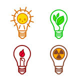 Bulbs symbols. Of different types of renewable energy nuclear non-renewable solar suitable as a template for the design of logos and signs royalty free illustration