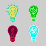 Bulbs symbols. Of different types of renewable energy nuclear non-renewable solar suitable as a template for the design of logos and signs stock illustration