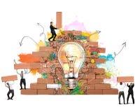 Bulding μια νέα δημιουργική ιδέα Στοκ εικόνες με δικαίωμα ελεύθερης χρήσης