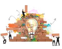 Bulding en ny idérik idé stock illustrationer