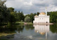 Bulding at lake in Pushkin Stock Photo