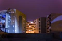 Bulding in Paços de Ferreira. Center area of Paços de Ferreira City, with high buildings at night Stock Photography