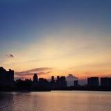 Buldings e tramonto Fotografie Stock