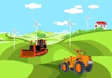Buldożer i ładowacz na zielonych wzgórzy łąki domach i piaskach, wieś, royalty ilustracja