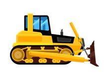 buldożer odizolowane łup hydrauliczna maszyna dla praca początkowy ładowacza budowniczych wyposażenia pojazdu wektoru żółtej kres ilustracja wektor