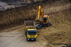 buldożeru ekskawatoru ciężarówki działanie Obrazy Stock