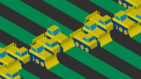Buldożery rozjaśnia teren Płaski isometric projekt royalty ilustracja
