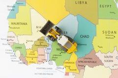Buldożer na mapie Obrazy Stock