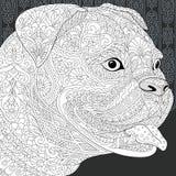 Buldog in zwart-witte stijl stock illustratie