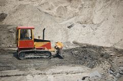 Buldozer. A buldozer is working on a construction site stock image