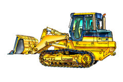 Buldozer illustration color  art Stock Images
