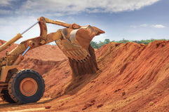 A buldozer at Weipa bauxite mine Stock Photography