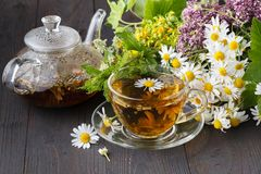 Bule e copo de vidro com chá verde na tabela de madeira velha com ervas frescas Foto de Stock