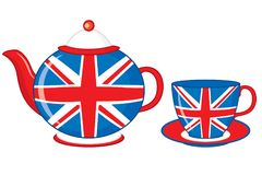 Bule e xícara de chá do vetor decorados com a cópia britânica da bandeira ilustração do vetor