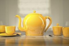 Bule e xícaras de chá Imagens de Stock Royalty Free