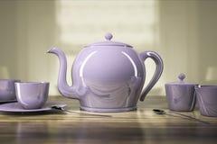 Bule e xícaras de chá Imagem de Stock Royalty Free